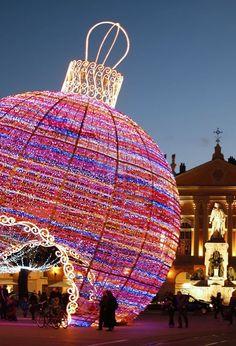 Giant Christmas ball decoration, Nice, France