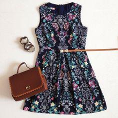 Vestido Terrário + Bolsa Maleta + Bracelete Folhas de Outono