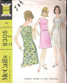 VINTAGE ONE PC DRESS 60s SEWING PATTERN MCCALLS 8305