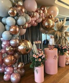pink and gold party decor. Great for a birthday, bachelorette, bridal, or even a baby shower. Baby Shower Decorations, Wedding Decorations, Parties Decorations, Baby Decor, Baby Shower Balloon Ideas, 18th Birthday Party Ideas Decoration, Sweet Sixteen Decorations, Sweet Sixteen Themes, Pink And Gold Decorations