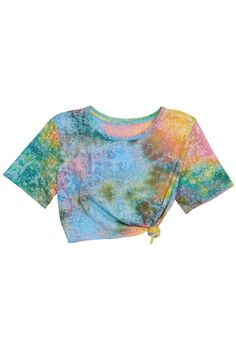 Tie-dyed Opaque Midriff T-shirt #ROMWE