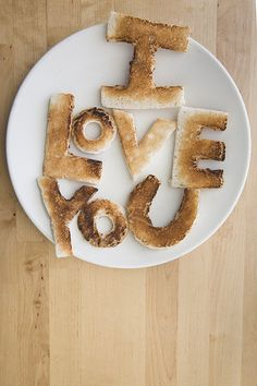 Wanna add some flavor and thought to your valentine's day brunch? How about I LOVE YOU toast! Warning: Do not give I Love You Toast to somebody. Love Is In The Air, Say I Love You, My Love, Food Typography, Good Food, Yummy Food, Fun Food, Fabulous Foods, Snacks