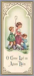 Vintage Christmas Card TRIPTYCH Children ADORE HIM 1950S/1960S