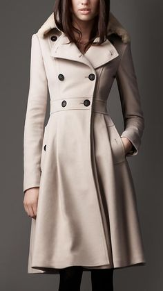 One day. :) Burberry Fur Collar Full Skirt Coat: Elegant full skirt coat in virgin wool with detachable Rex rabbit fur collar Ornate seem detailing and set-in sleeves Fitted waist accentuates the feminine silhouette
