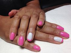 #Gel polish in pink with white and pink French accent nail