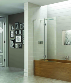Finished tile edge and trim on wall -Matki showering - New EauZone Plus Double Hinged Bath Screen