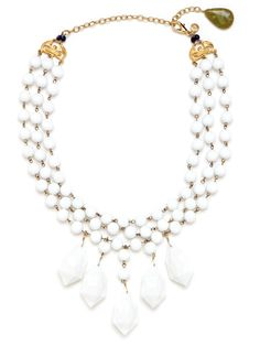 Gorgeous statement necklace. Adore it how it's finished with those blue and green stones. And so budget friendly.