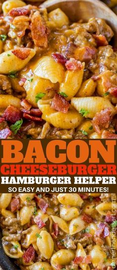 Bacon Cheeseburger Hamburger Helper is full of bacon and cheesy pasta goodness turned into a 30 minute meal perfect for weeknights. NO BACON USE LOL American cheese Homemade Hamburger Helper, Hamburger Meat Recipes, Bacon Recipes, Cooking Recipes, Crockpot Meals With Hamburger, Quick Recipes, Hamburger Dinner Ideas, Hamburger Macaroni, Beef Dishes