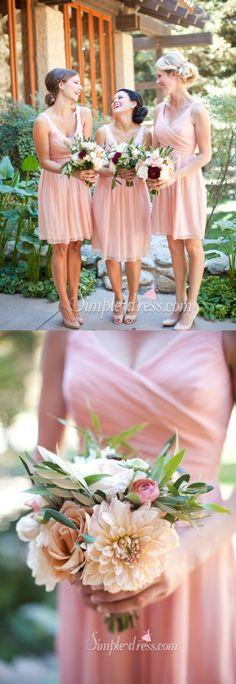 Simple V-neck Princess Short Chiffon Bridesmaid Dress/Wedding Party Dress…