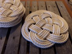 """Rope Table Placemat Centerpiece Off White Cotton Knotted Mats 13"""" Nautical Beach Marine Ocean or Rustic Decor by AlaskaRugCompany on Etsy"""