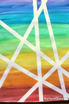 DIY Rainbow Watercolor Tape Art