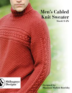 Men's Cabled Knit Sweater Pattern  Instant Digital by Shibaguyz