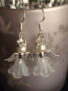 White angel Christmas earrings