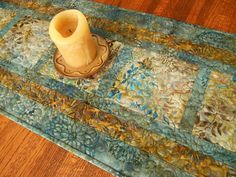 Quilted Batik Table Runner in Blue and Brown with Leaves and Flowers, Batik…