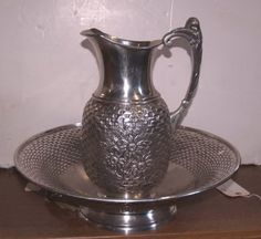 Hammered Metal Pitcher & Bowl