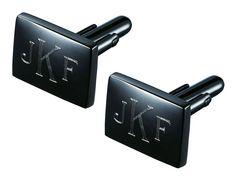 Monogrammed cufflinks in gunmetal