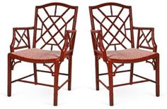 Red Fretwork  Armchairs, Pair, Vintage