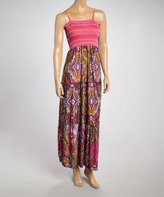 Look at this #zulilyfind! Pink Stripe Paisley Maxi Dress - Women by Just Love #zulilyfinds