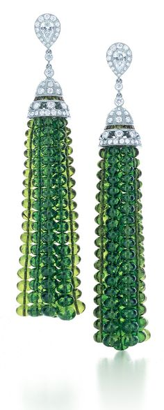 Tiffany & Co. tassel earrings with diamonds in platinum, from the 2013 Blue Book collection with tsavorite beads.