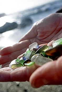 Glass beach, Fort Bragg, CA - Ocean-tumbled pebbles of glass from when the beach was used as a garbage dump