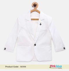 ca2984ad4a22 Baby Boy White Casual Blazer – Kids Summer Coat online - Stylish Children  Formal Party Blazer