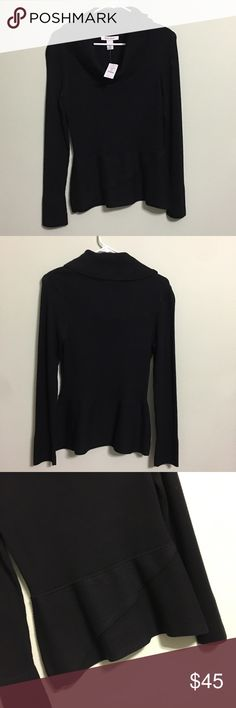⭐️SALE⭐️  WHBM Swoop Neck Sweater NWT Brand new! Black sweater with layered bottom. White House Black Market Tops Blouses