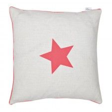 White Cushion with Coral Star