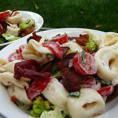 """Tortellini Bacon Broccoli Salad   """"A pasta salad made with cheese tortellini, bacon, and broccoli makes a flavorful side dish, and it's hearty enough to make a lunch or light meal, too."""""""