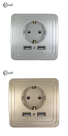 [Visit to Buy] COSWALL Wall Power Socket Grounded,16A EU Standard Electrical Outlet With 2000mA Dual USB Charger Port for Mobile Silver Color #Advertisement