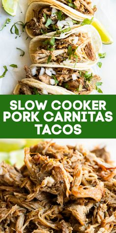 Slow Cooker Pork Carnitas (Perfect for Tacos! Tender and juicy with just the right amount of spice and perfectly caramelized bits. The best filling for tacos, burritos and more! Pork Carnitas Tacos, Slow Cooker Carnitas, Pulled Pork Tacos, Slow Cooker Tacos, Slow Cooker Recipes, Cooking Recipes, Slow Cooker Pork Roast, Recipe For Carnitas, Bon Appetit