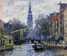 """Canal in Amsterdam  Claude Monet,   """