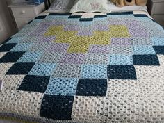 First blanket I made (for my mum! Repurposed, Shabby Chic, Quilts, Blanket, Bed, Crochet, Pretty, Color, Inspiration