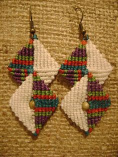 Macrame Earrings Tutorial, Earring Tutorial, Macrame Dress, Weaving Textiles, Micro Macrame, Macrame Jewelry, Polymer Clay Jewelry, Handcrafted Jewelry, Jewelry Crafts