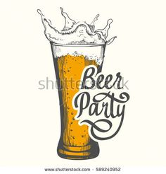 Drink menu for pub. Vector illustration with beer glass in sketch style. Party poster on white background. Handwritten ink lettering.