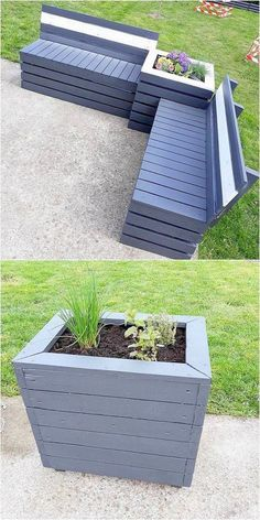 Check out the adorable picture description of the DIY pallet furniture idea. This awesome wood pallet reusing idea will deliver you something excellent and more effective than your imgaination. Just start designing this outdoor pallet couch and plant Garden Furniture Design, Pallet Garden Furniture, Diy Furniture Easy, Diy Furniture Projects, Diy Pallet Projects, Wooden Furniture, Antique Furniture, Furniture Stores, Woodworking Projects