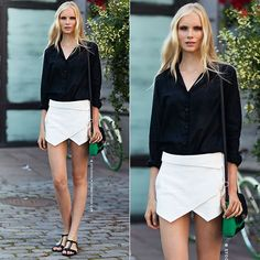 #skort #camisa #branco #preto #rasteira