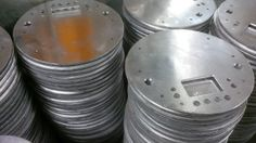 Aluminium discs CNC punched from 3mm sheet metal in Fareham, Hampshire, UK http://www.vandf.co.uk/bespoke-sheet-metal-work-from-v-and-f-sheet-metal-in-fareham-hampshire/