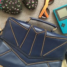 Navy Purse Never used. Removable strap. Snap closure. Nila Anthony Bags