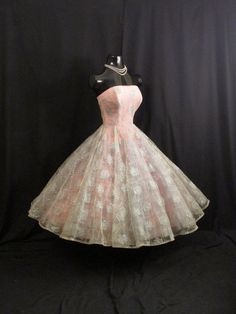 Vintage 1950's Will Steinman Metallic Blue Embroidered Tulle Pink Taffeta Circle Skirt Party Prom DRESS