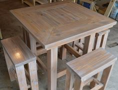 Rustic Pub Table w/ 4 barstools by LonghornWoodshop on Etsy