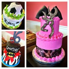 I LOVE THE CAMO GIRL CAKE and the batman one is cool,soccer ok