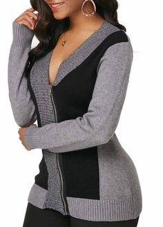 Long Sleeve V Neck Zipper Front Cardigan | Rosewe.com - USD $28.49