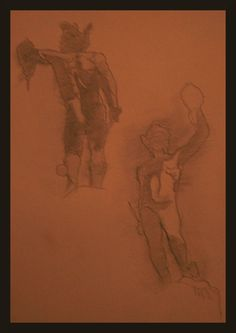 Sketches of Cellini's Perseus, graphite on toned paper, 2012