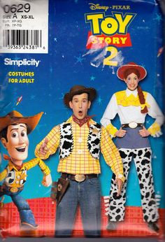 Simplicity 0629 Adult's Woody and Jessie Costumes Pattern, Toy Story 2, UNCUT, Size XSmall, Small, Medium, Large, XLarge. $24.95, via Etsy.