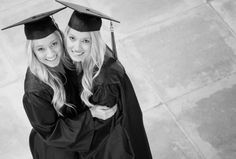 Senior Pictures in cap and gown with my twin sister at Claremont Colleges. This was our favorite graduation picture of the whole day.