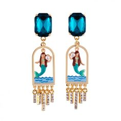 Litlle mermaid and gold metal fringes earrings