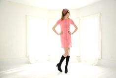 Vintage pink mini dress 1960s sheath short by RoseleinRarities
