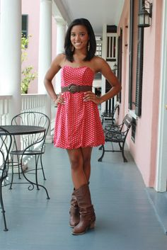 cowboy boots and super cute dress