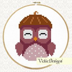 Woodland Forest Animals Owl Acorn Hat Cute Cross Stitch Pattern PDF on Etsy, $5.00