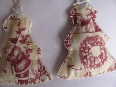Toile Vintage Fabric Christmas Tree X 2 by GTcottagecrafts